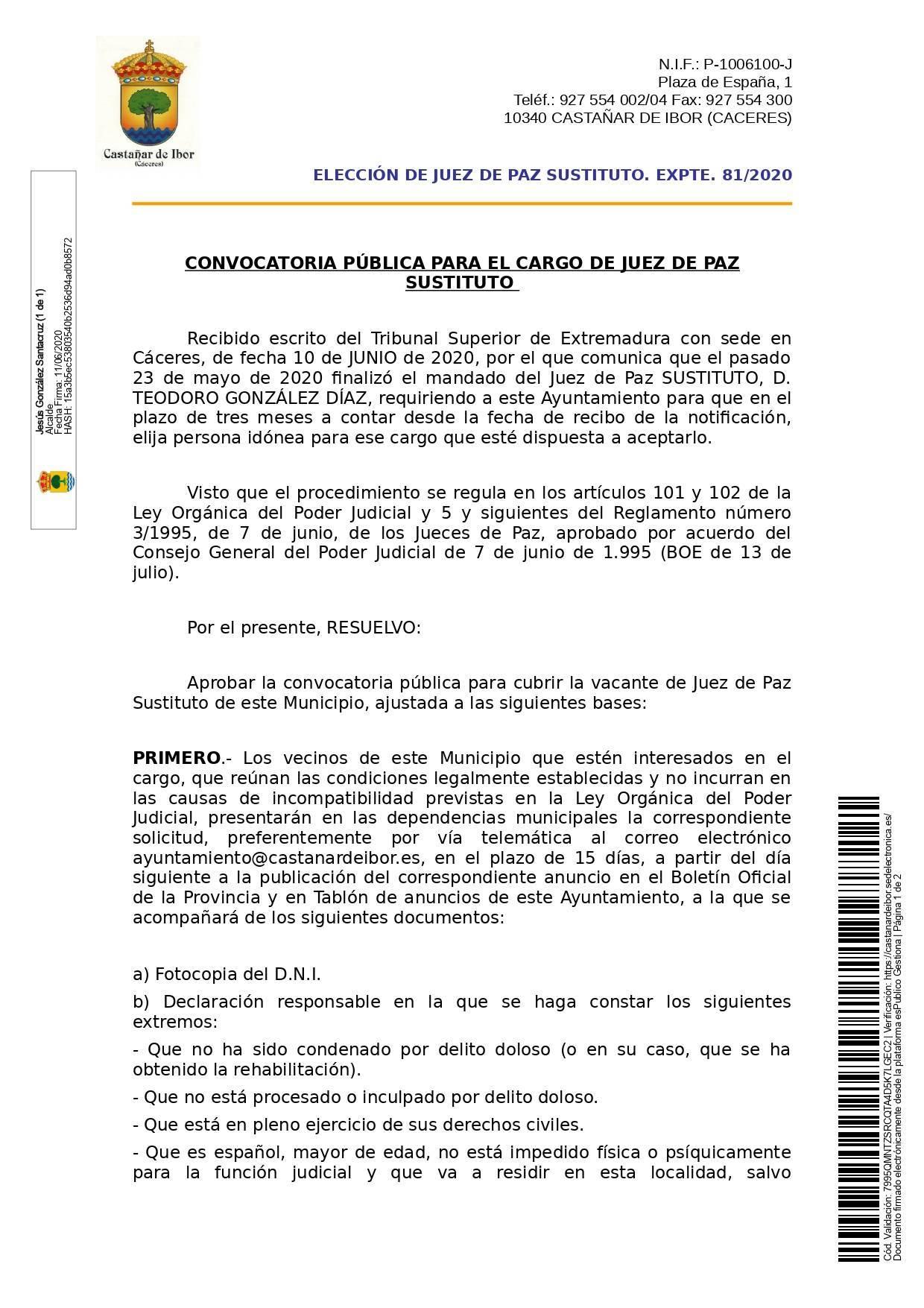 Juez de paz 2020 - Castañar de Ibor (Cáceres) 1