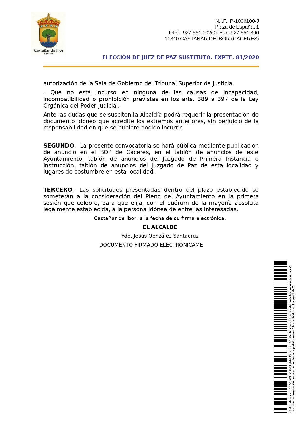 Juez de paz 2020 - Castañar de Ibor (Cáceres) 2