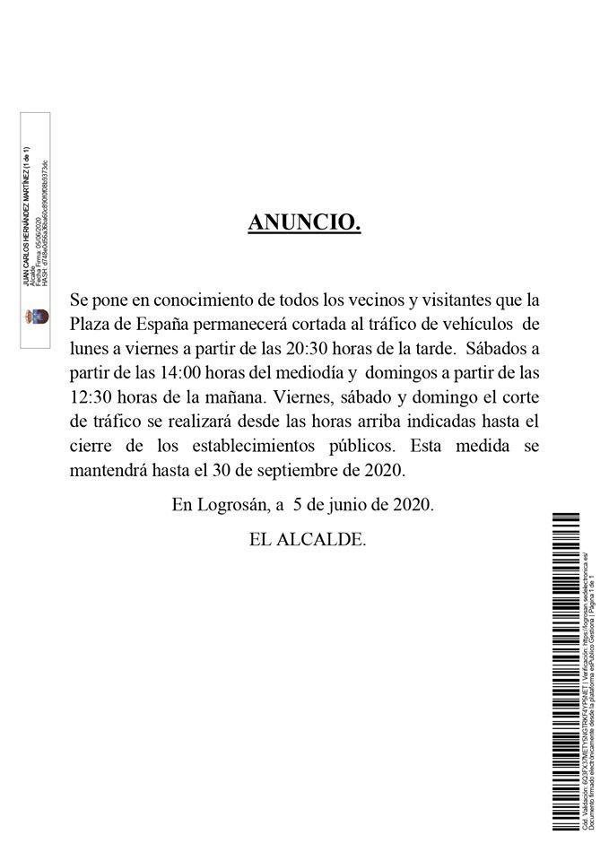 La plaza estará cortada hasta septiembre de 2020 - Logrosán (Cáceres)