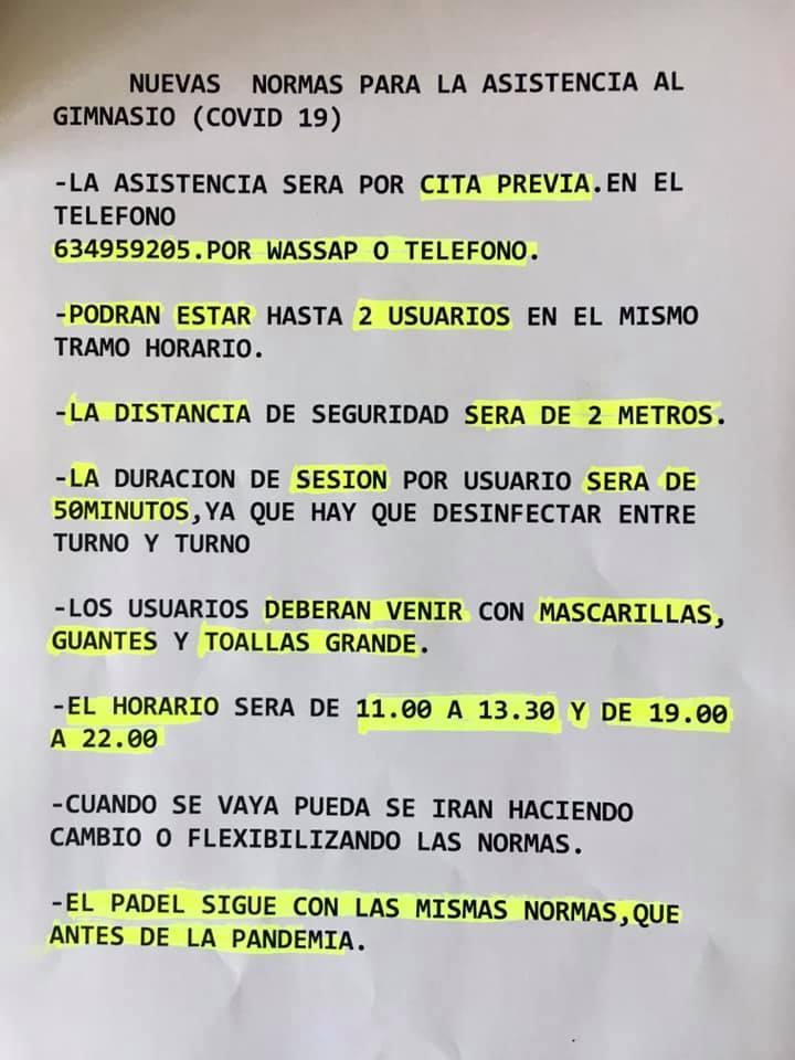 Medidas para el gimnasio COVID-19 2020 - Deleitosa (Cáceres)