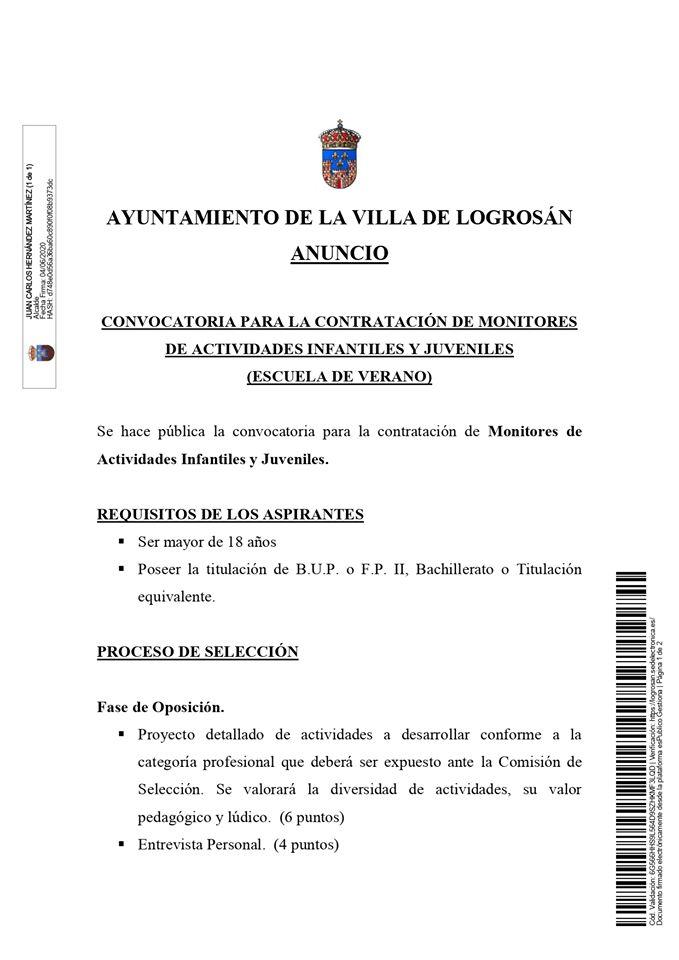 Monitor para escuela de verano 2020 - Logrosán (Cáceres) 1