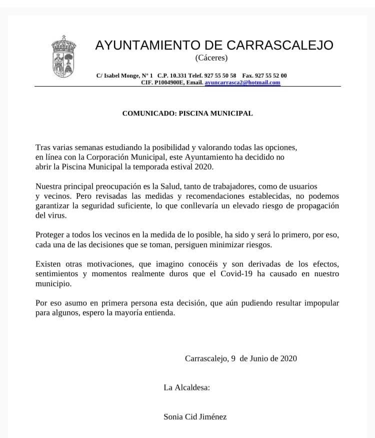 No abrirá la piscina municipal 2020 - Carrascalejo (Cáceres)
