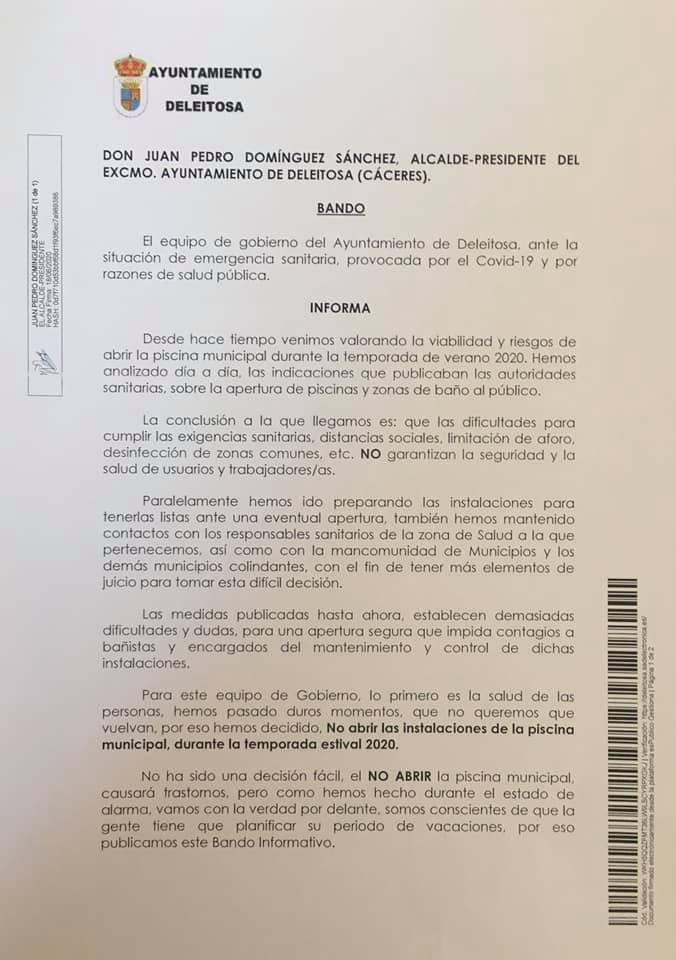 No abrirá la piscina municipal 2020 - Deleitosa (Cáceres) 1