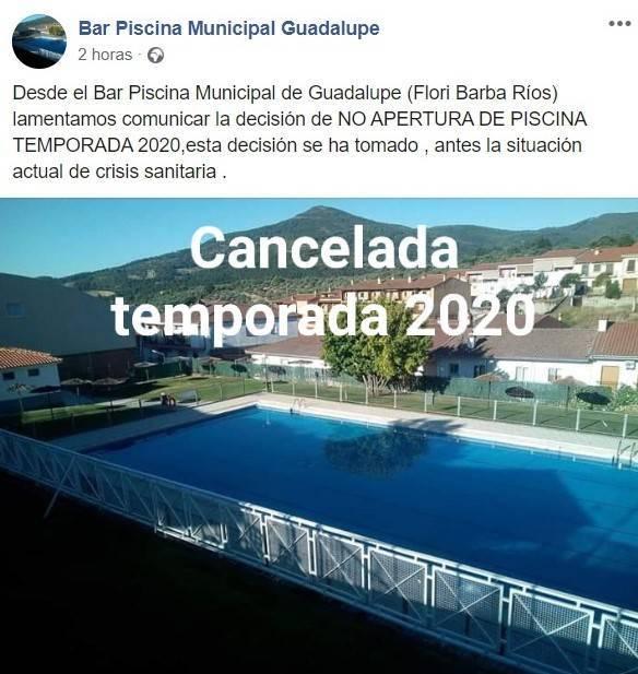 No abrirá la piscina municipal 2020 - Guadalupe (Cáceres)
