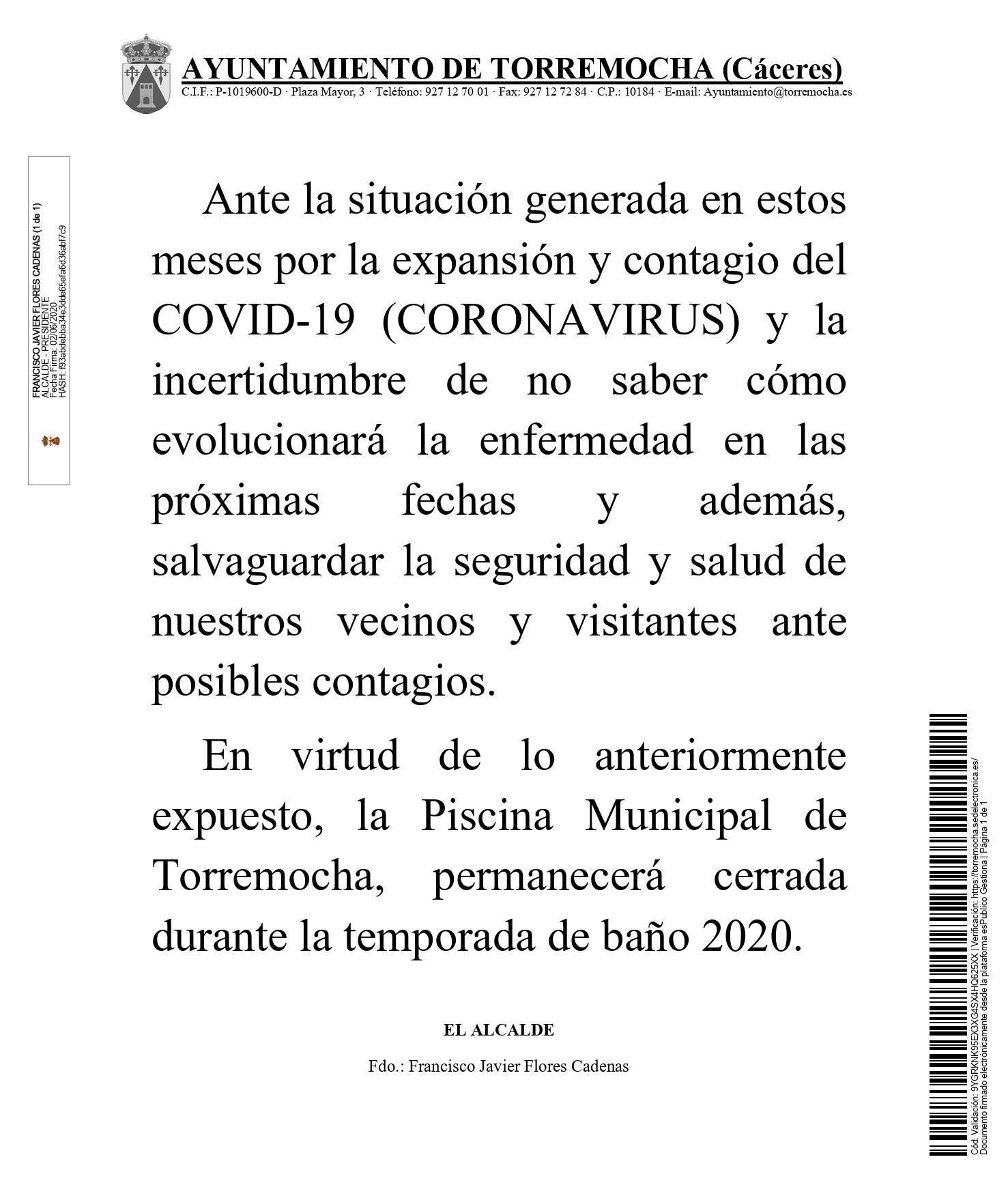 No abrirá la piscina municipal 2020 - Torremocha (Cáceres)