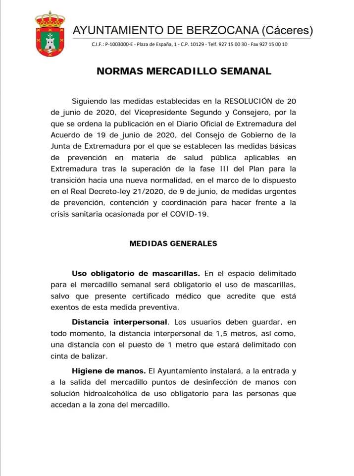 Normas mercadillo semanal 2020 - Berzocana (Cáceres) 1