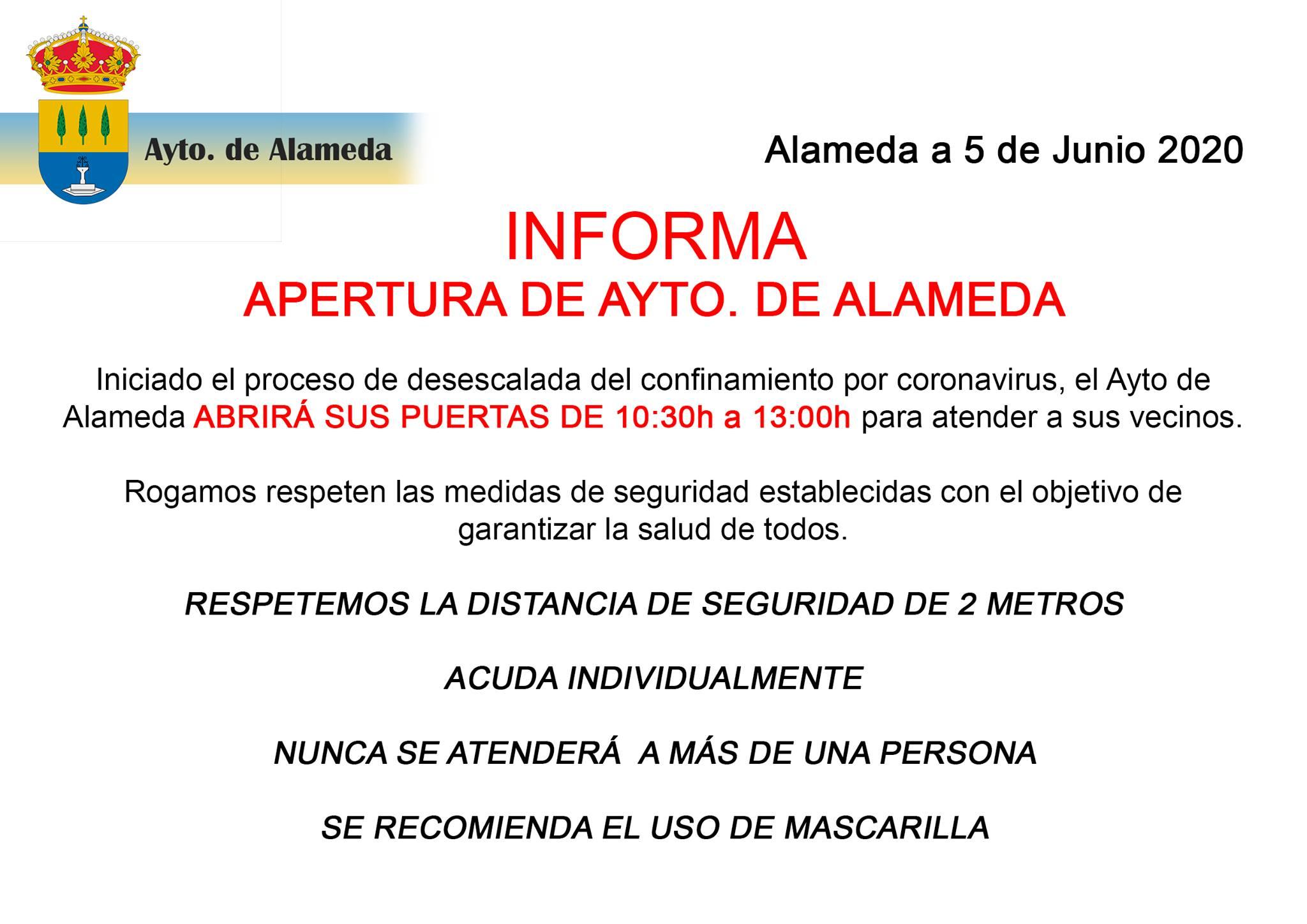 Reapertura del Ayuntamiento 2020 - Alameda (Málaga)