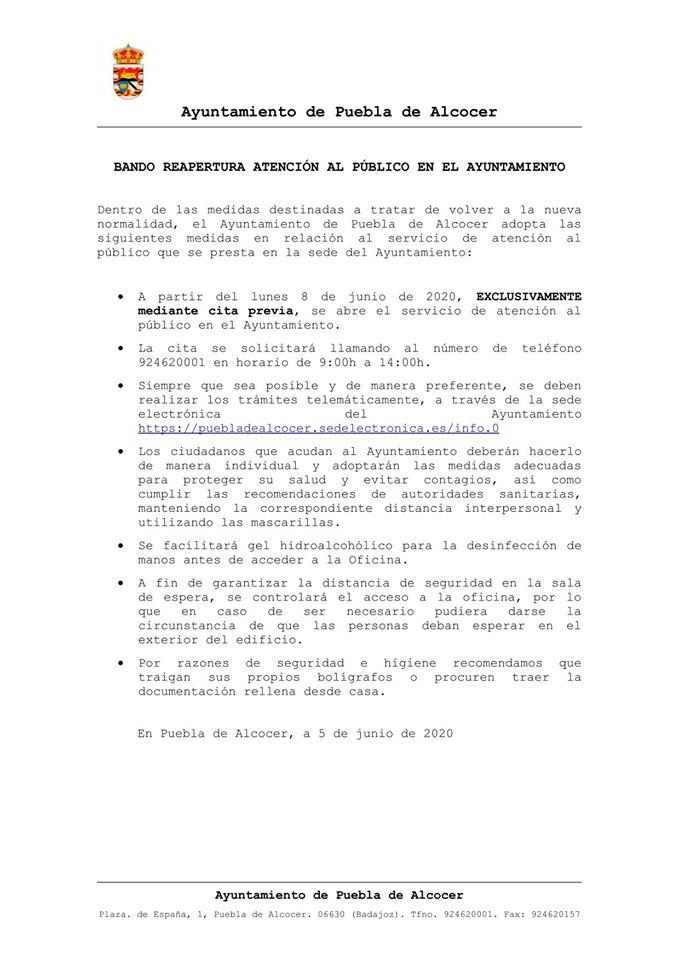 Reapertura del Ayuntamiento 2020 - Puebla de Alcocer (Badajoz)