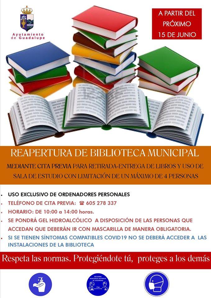 Reapertura y normas de la biblioteca 2020 - Guadalupe (Cáceres) 1