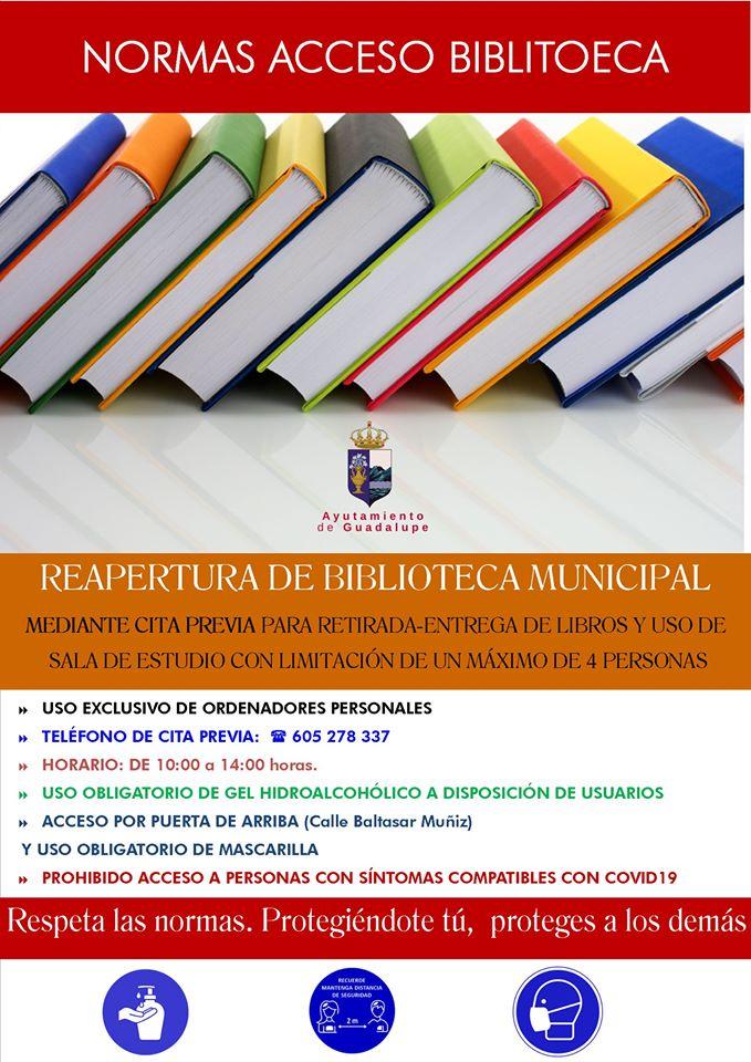 Reapertura y normas de la biblioteca 2020 - Guadalupe (Cáceres) 2