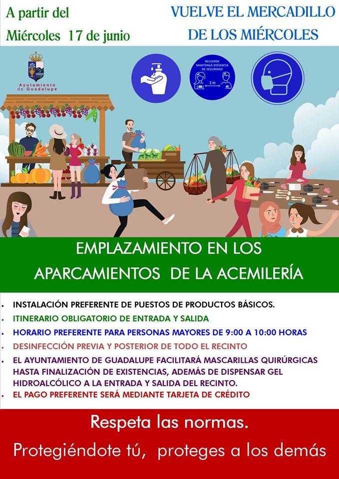 Regreso del mercadillo semanal 2020 - Guadalupe (Cáceres)