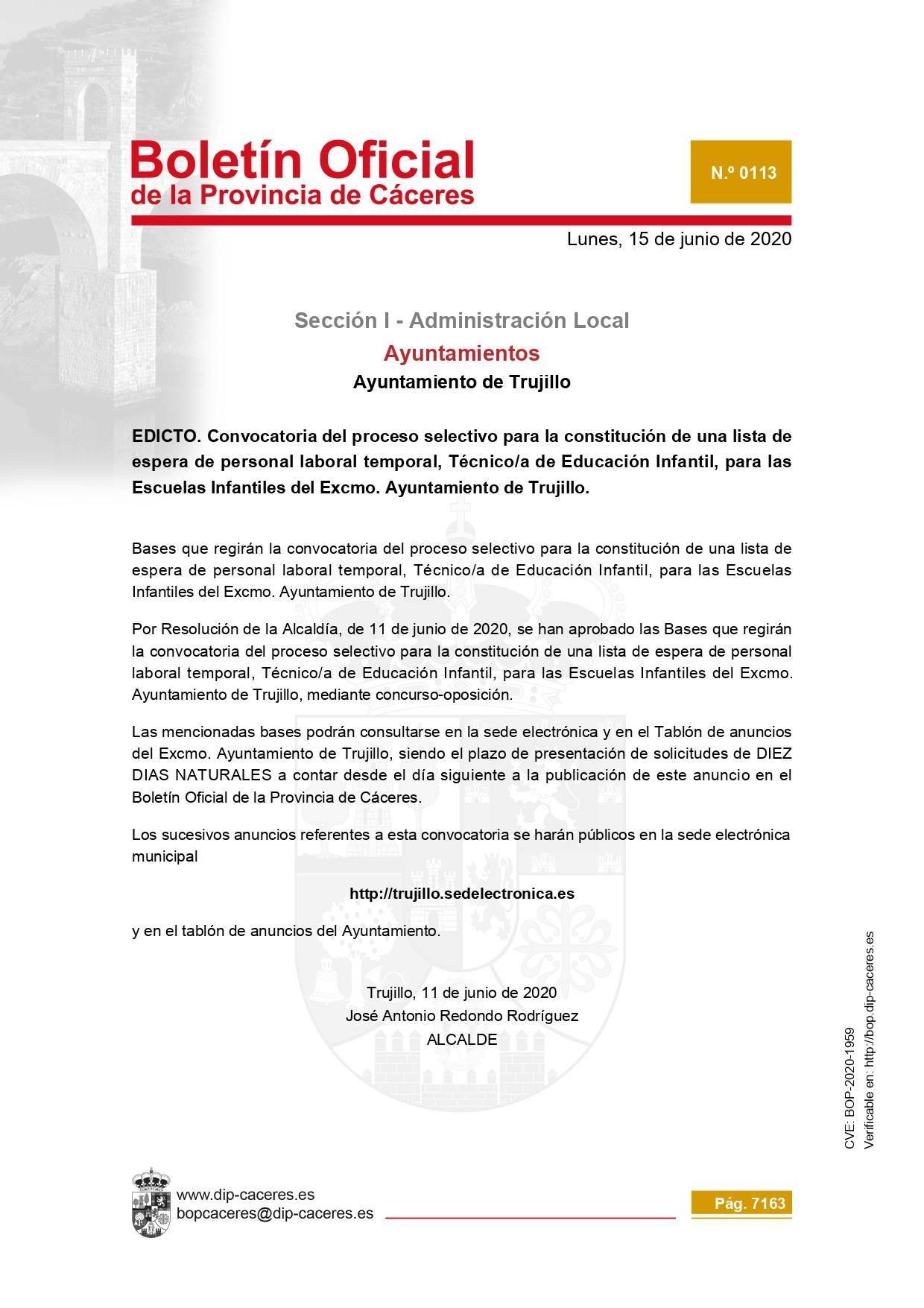Técnico-a de educación infantil 2020 - Trujillo (Cáceres)