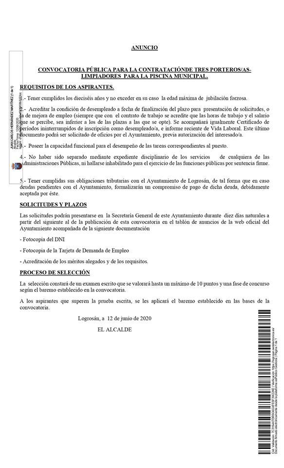Tres porteros-as-limpiadores para la piscina 2020 - Logrosán (Cáceres)