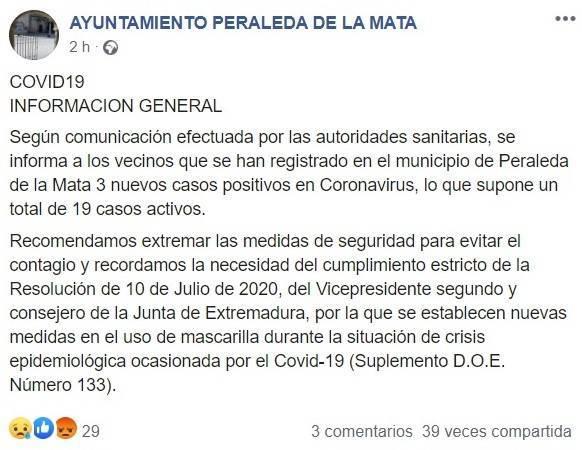 19 casos activos positivos por COVID-19 julio 2020 - Peraleda de la Mata (Cáceres)