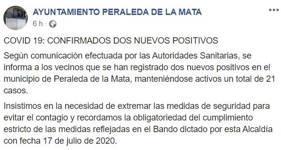 21 casos activos positivos por COVID-19 julio 2020 - Peraleda de la Mata (Cáceres)