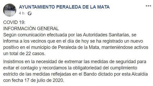 22 positivos activos por COVID-19  julio 2020 - Peraleda de la Mata (Cáceres)