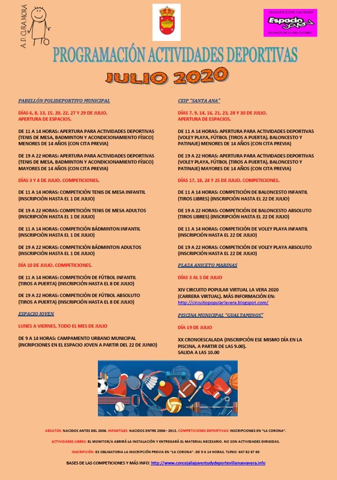Actividades deportivas julio 2020 - Villanueva de la Vera (Cáceres) 1