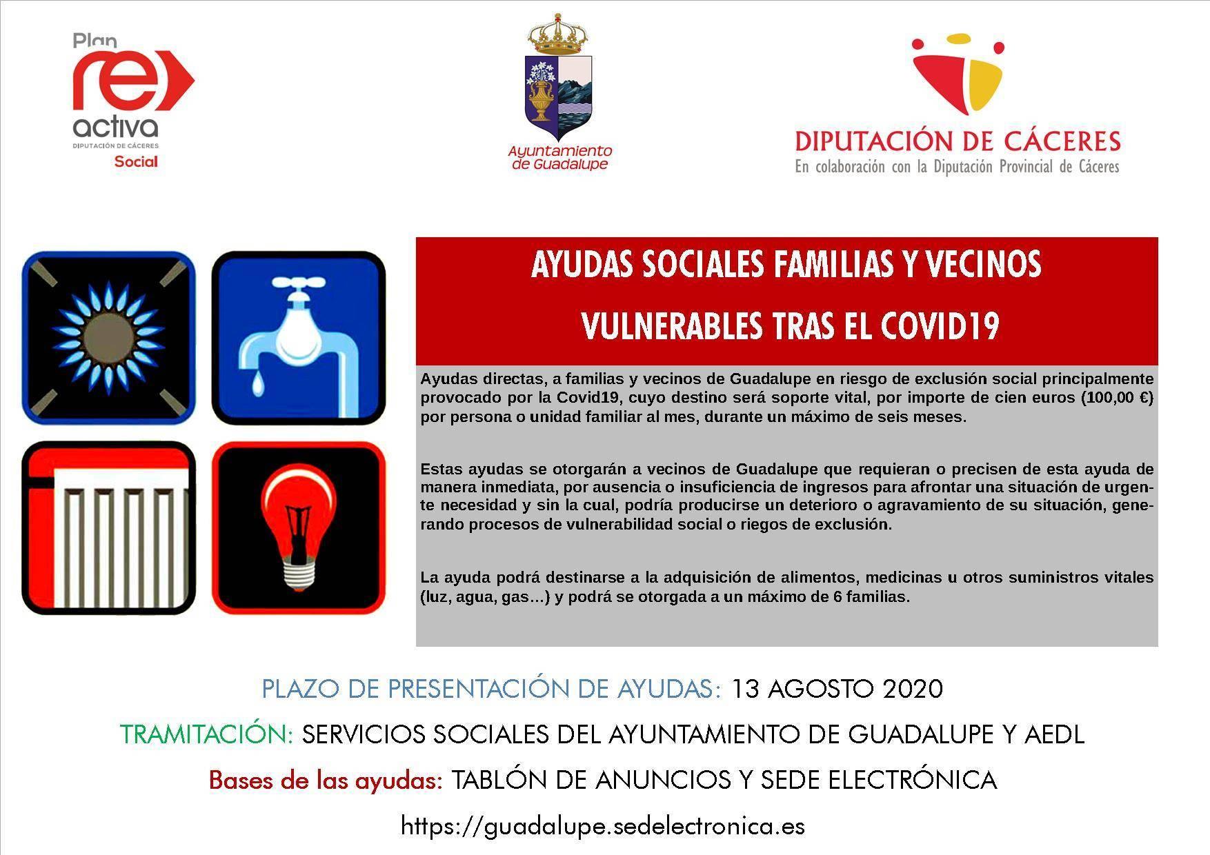 Ayudas sociales tras el COVID-19 2020 - Guadalupe (Cáceres)