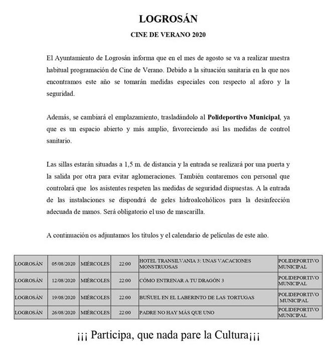 Cine de verano 2020 - Logrosán (Cáceres) 1