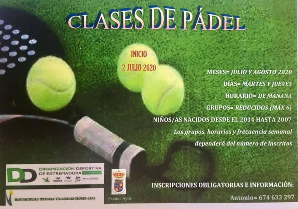 Clases de pádel de verano 2020 - Deleitosa (Cáceres)