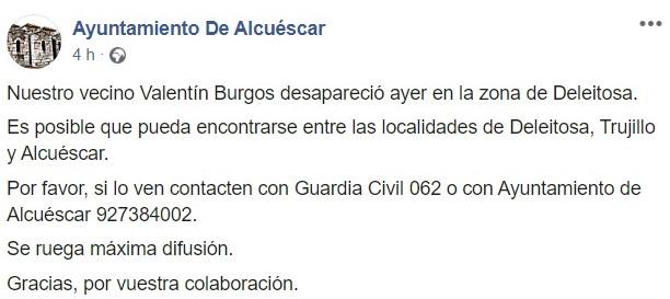 Desaparece Valentín Burgos Gil 2020 - Alcuéscar (Cáceres), Deleitosa (Cáceres) 1