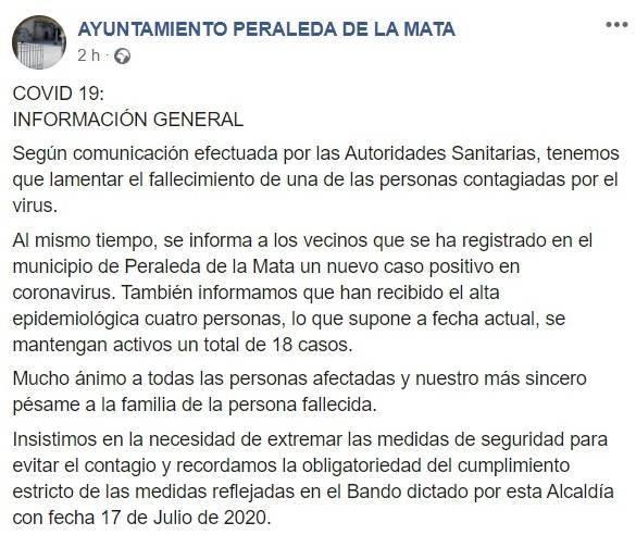 Fallece una persona por COVID-19 julio 2020 - Peraleda de la Mata (Cáceres)