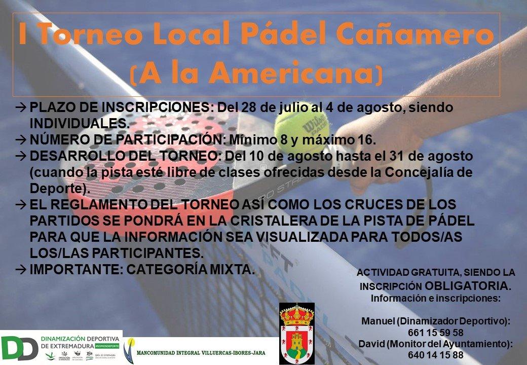 I torneo local de pádel a la americana - Cañamero (Cáceres)