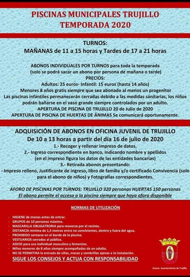 Información sobre las piscinas 2020 - Trujillo (Cáceres)