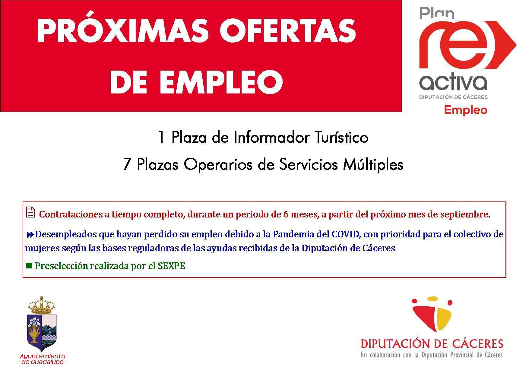 Informador turístico y operarios de servicios múltiples 2020 - Guadalupe (Cáceres)