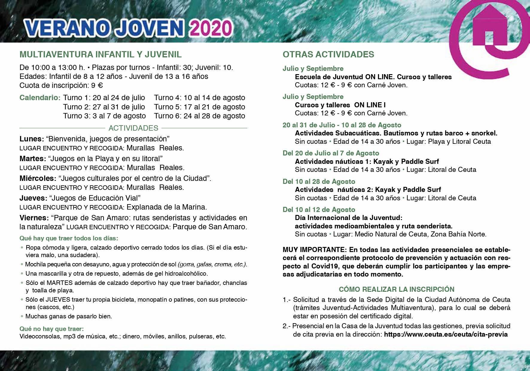 Programa verano joven 2020 - Ceuta 2