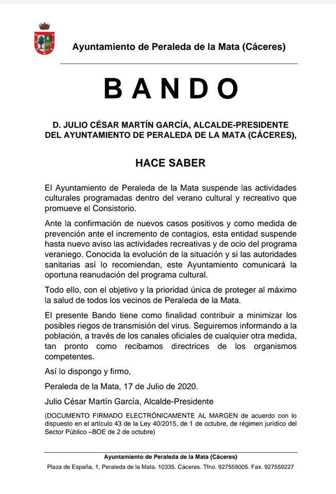 Suspendidas las actividades de verano 2020 - Peraleda de la Mata (Cáceres)