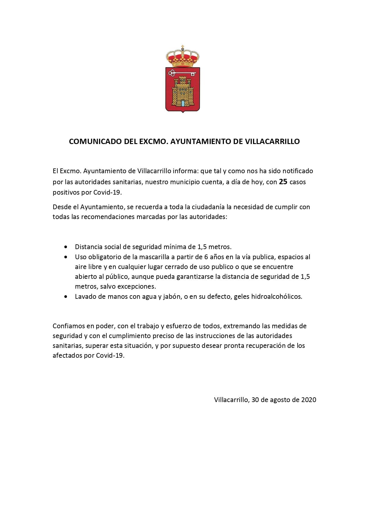 25 casos positivos de COVID-19 (agosto 2020) - Villacarrillo (Jaén)