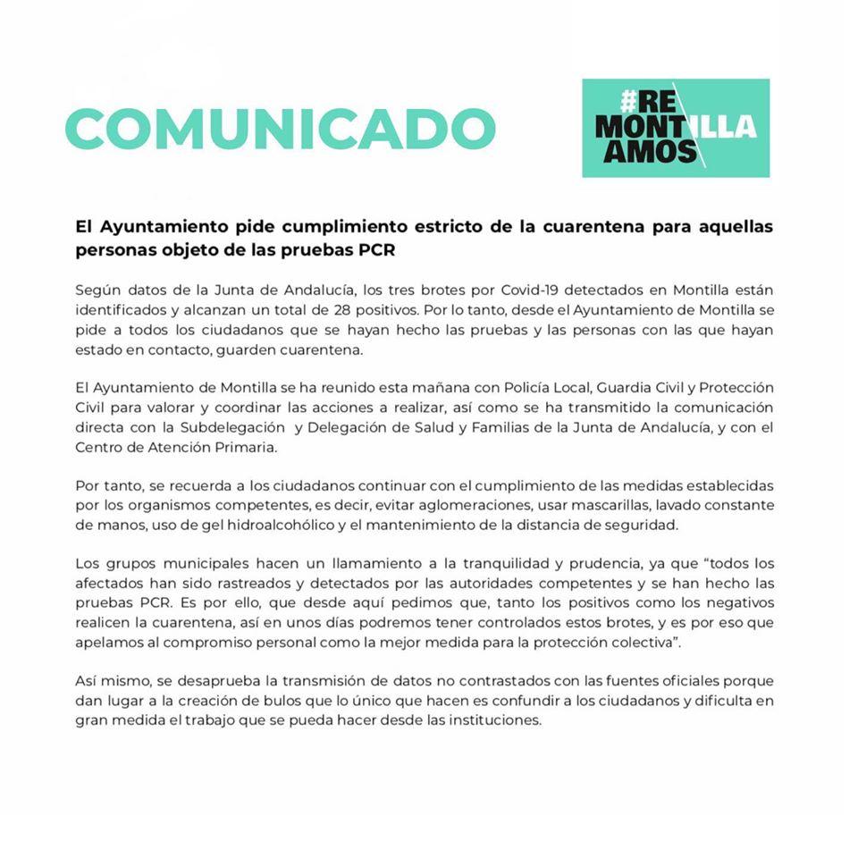 28 casos positivos por COVID-19 agosto 2020 - Montilla (Córdoba)