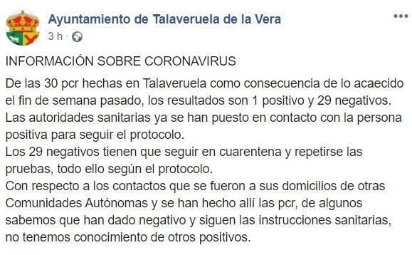 29 negativos por coronavirus (agosto 2020) - Talaveruela de la Vera (Cáceres)