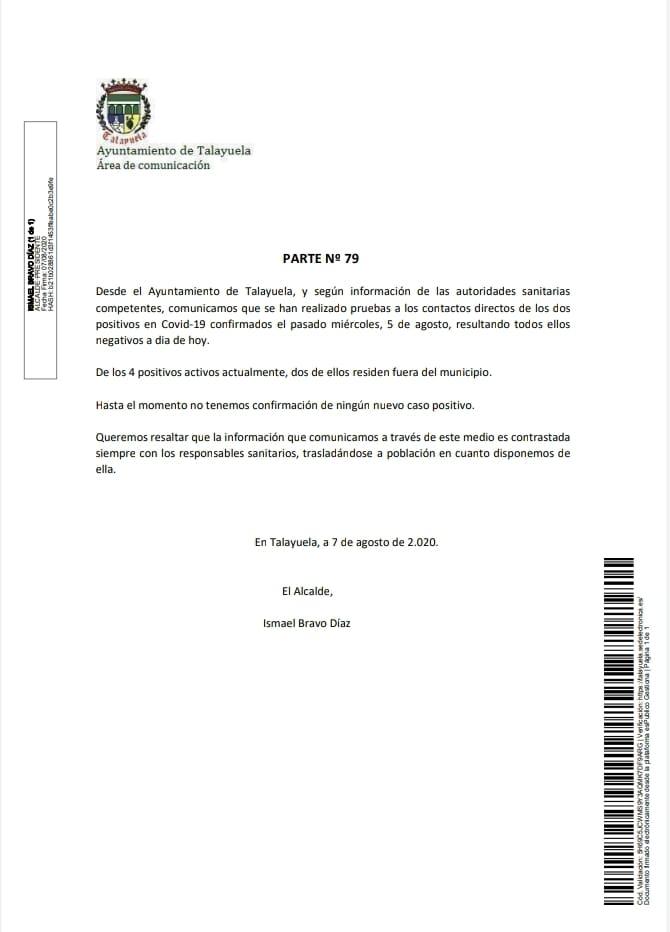 4 positivos activos por coronavirus agosto 2020 - Talayuela (Cáceres)
