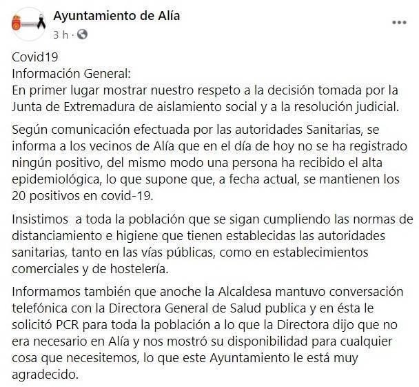 Aislamiento social por coronavirus (agosto 2020) - Alía (Cáceres) 1