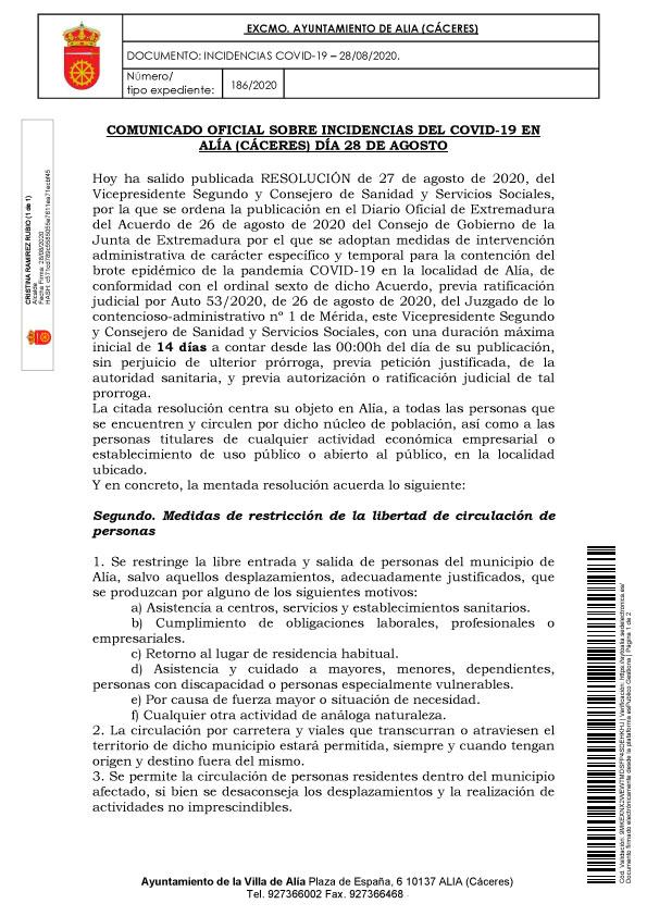 Aislamiento social por coronavirus (agosto 2020) - Alía (Cáceres) 2
