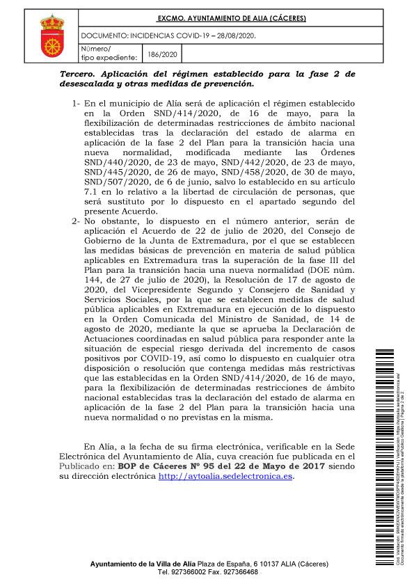 Aislamiento social por coronavirus (agosto 2020) - Alía (Cáceres) 3