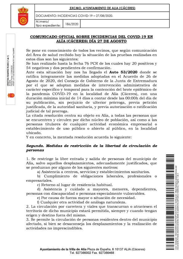 Aislamiento social por coronavirus (agosto 2020) - Alía (Cáceres) 4