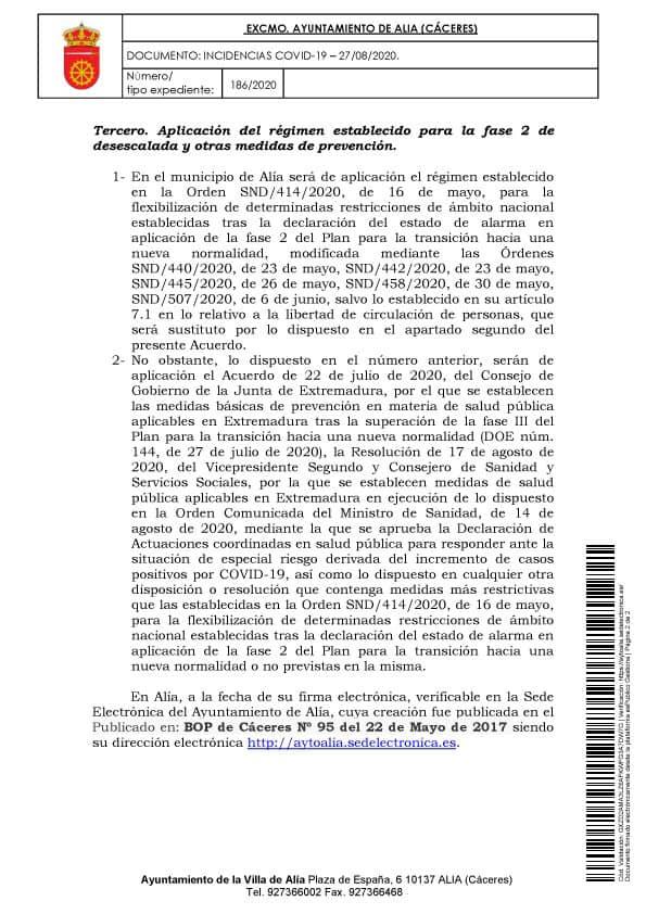 Aislamiento social por coronavirus (agosto 2020) - Alía (Cáceres) 5