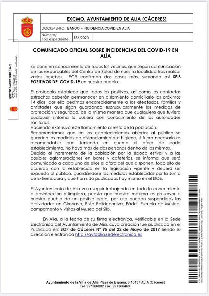 Brote de COVID-19 (agosto 2020) - Alía (Cáceres)