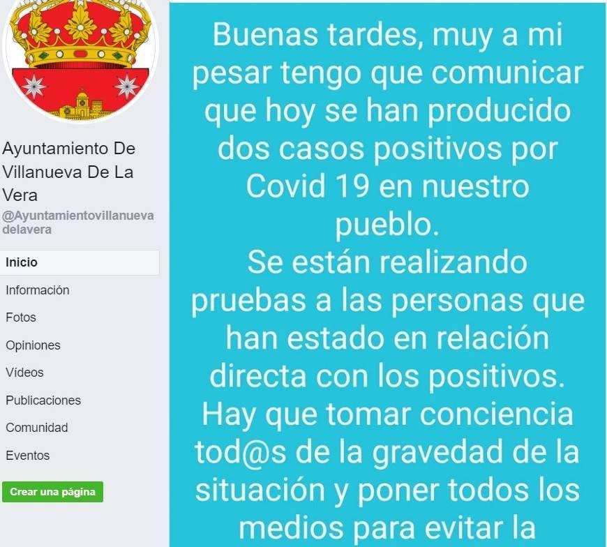 Dos positivos por coronavirus (agosto 2020) - Villanueva de la Vera (Cáceres)