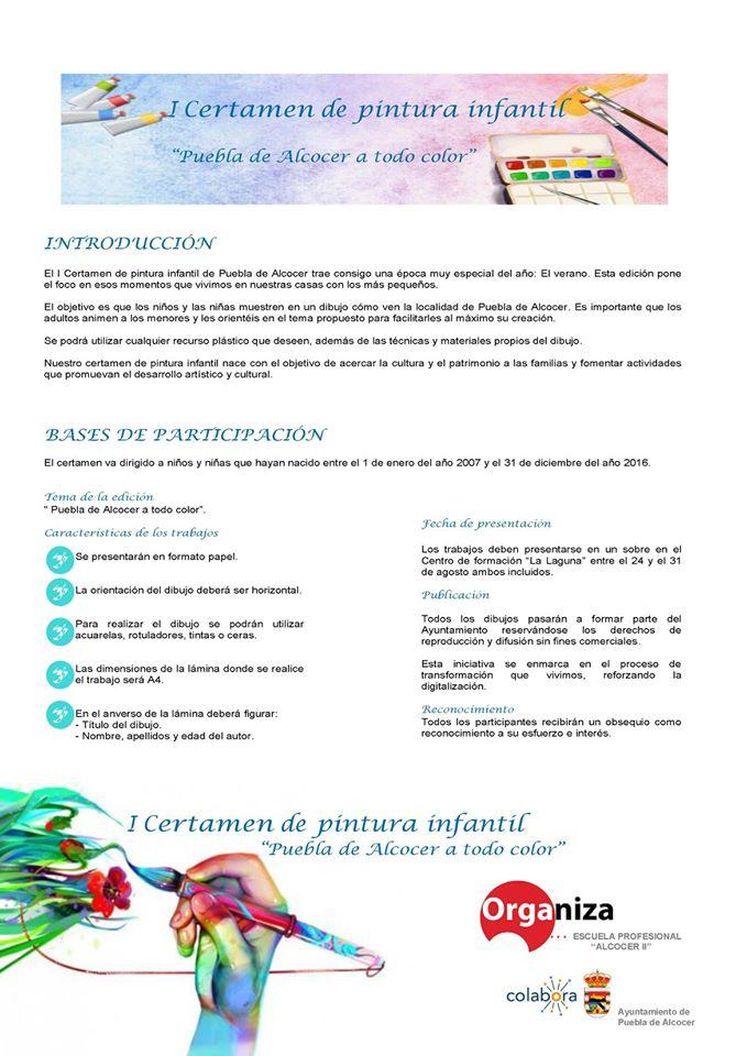 I certamen de pintura infantil - Puebla de Alcocer (Badajoz)