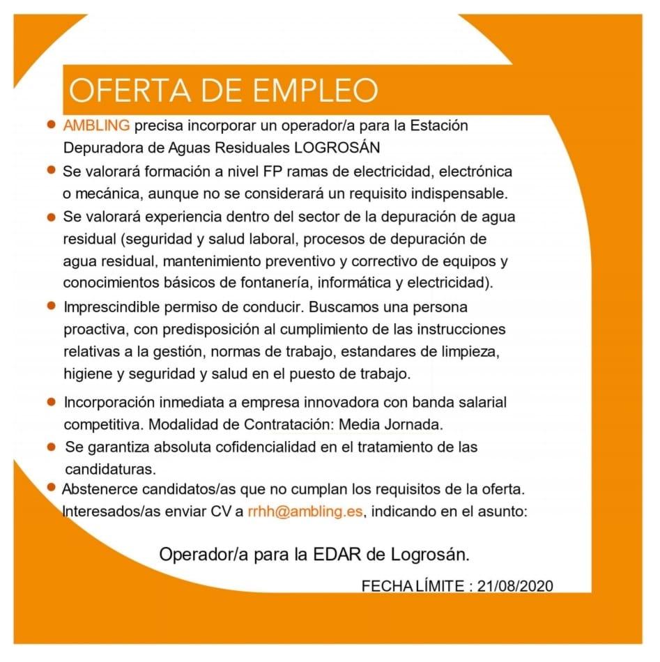 Operador-a para depuradora de agua 2020 - Logrosán (Cáceres)