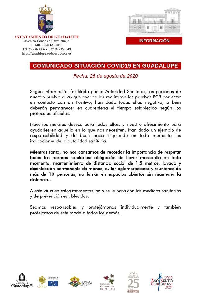 PCR negativos por COVID-19 (agosto 2020) - Guadalupe (Cáceres)