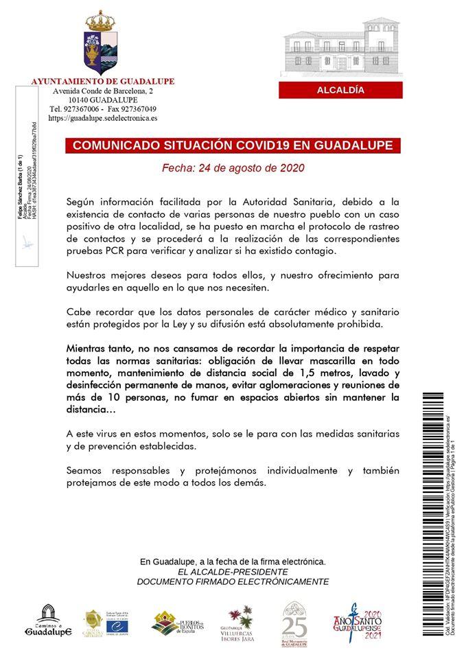 Rastreo de contactos de COVID-19 (agosto 2020) - Guadalupe (Cáceres)