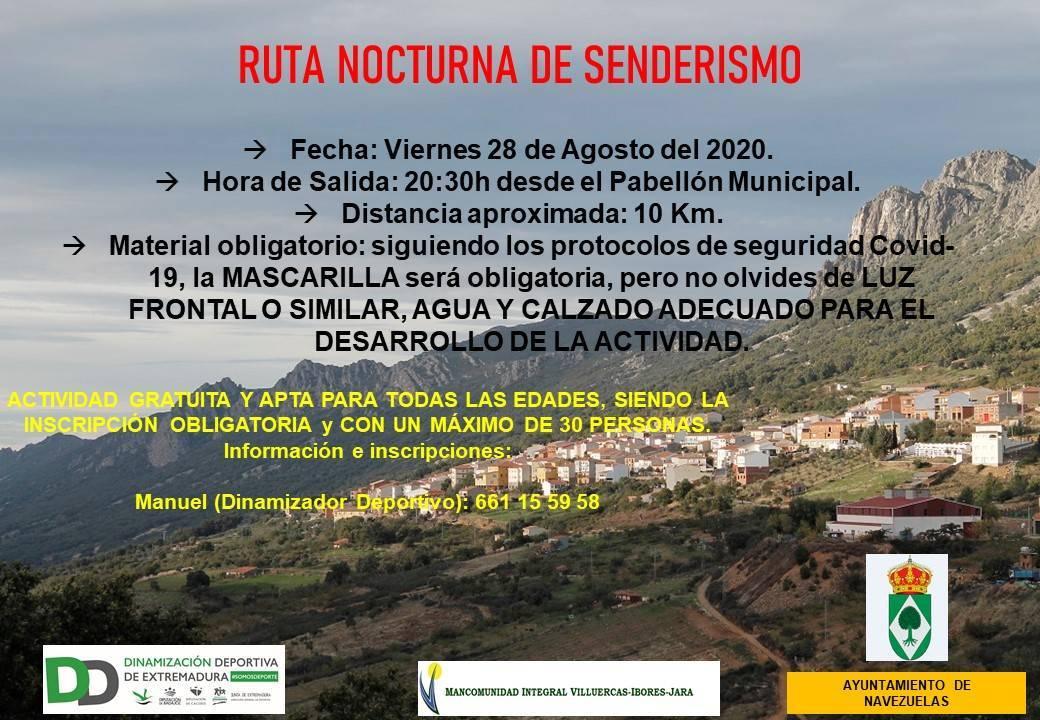 Ruta nocturna de senderismo (agosto 2020) - Navezuelas (Cáceres)