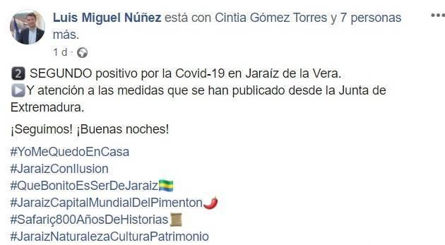 Segundo positivo por coronavirus (agosto 2020) - Jaraíz de la Vera (Cáceres)