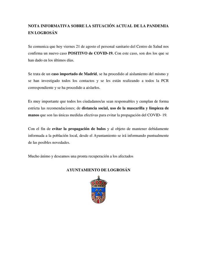Segundo positivo por coronavirus (agosto 2020) - Logrosán (Cáceres)