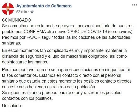 Sexto positivo por coronavirus (agosto 2020) - Cañamero (Cáceres)